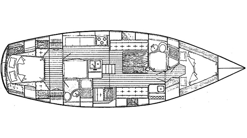 Interior layout of the Endeavour 42 sailboat