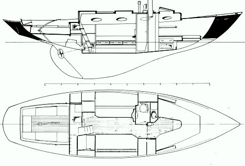 Interior layout of the Francis Kinney Pipedream 37 sailboat