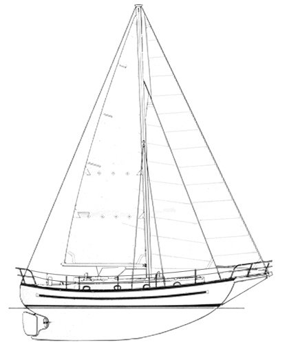 Line drawing of the Lord Nelson 35 sailboat